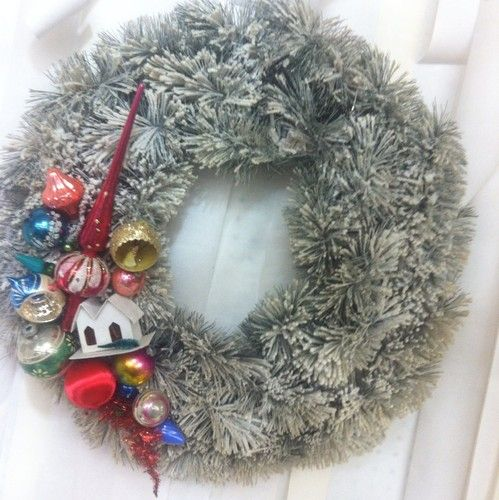 Vintage Shiny Brite Topper Putz House Glass Ornaments Flocked Christmas Wreath | eBay