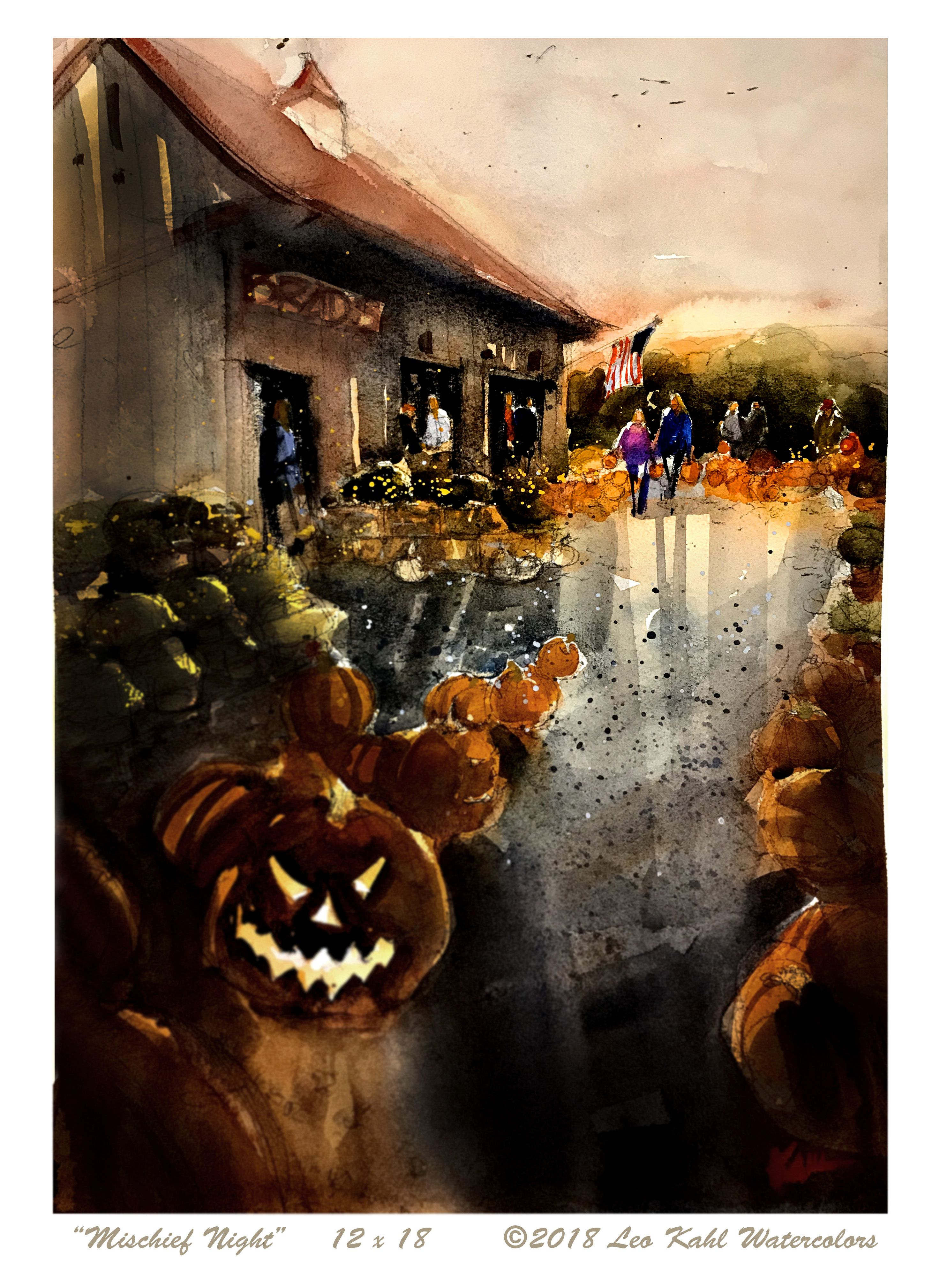 Mischief Night By Leo Kahl Watercolors Art Watercolor Watercolor Art