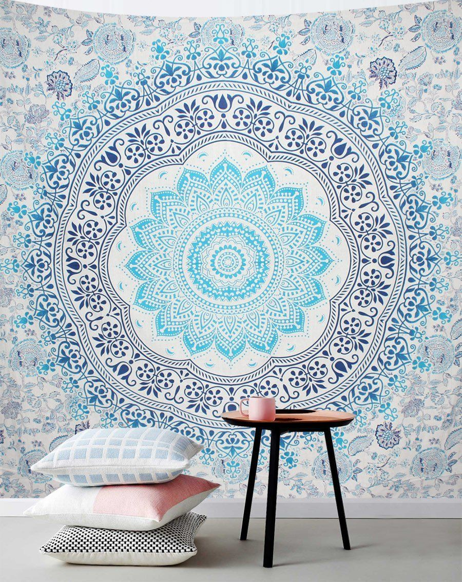 Blue Lifeflower Eco Friendly Queen Tapestry Decor Tapestry