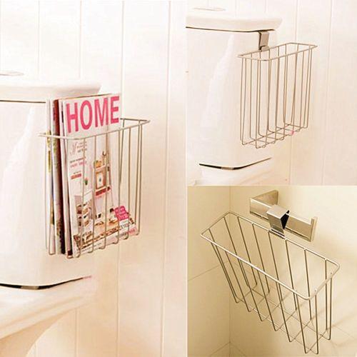 Bathroom Toilet Mount Shelf Magazine Book Holder NEWS Rack Blanket