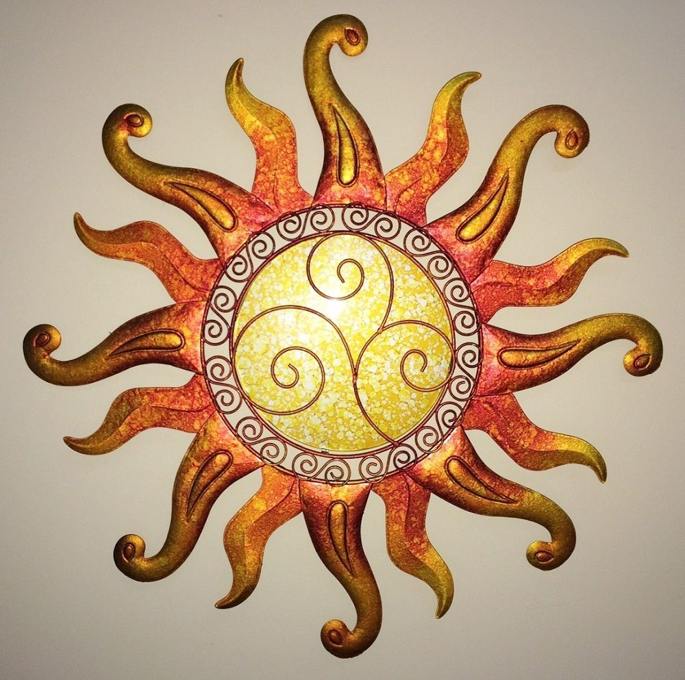Swirl Sun Wall Art Glass & Metal Sunburst Decor Sculpture Indoor ...