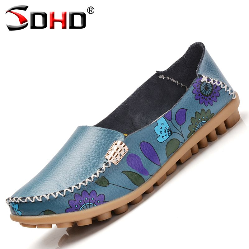 Floral Print Patchwork Women outdoor Flats non-slip Soft Comfortable driving Casual Shoes Spring And summer Woman walking Shoes
