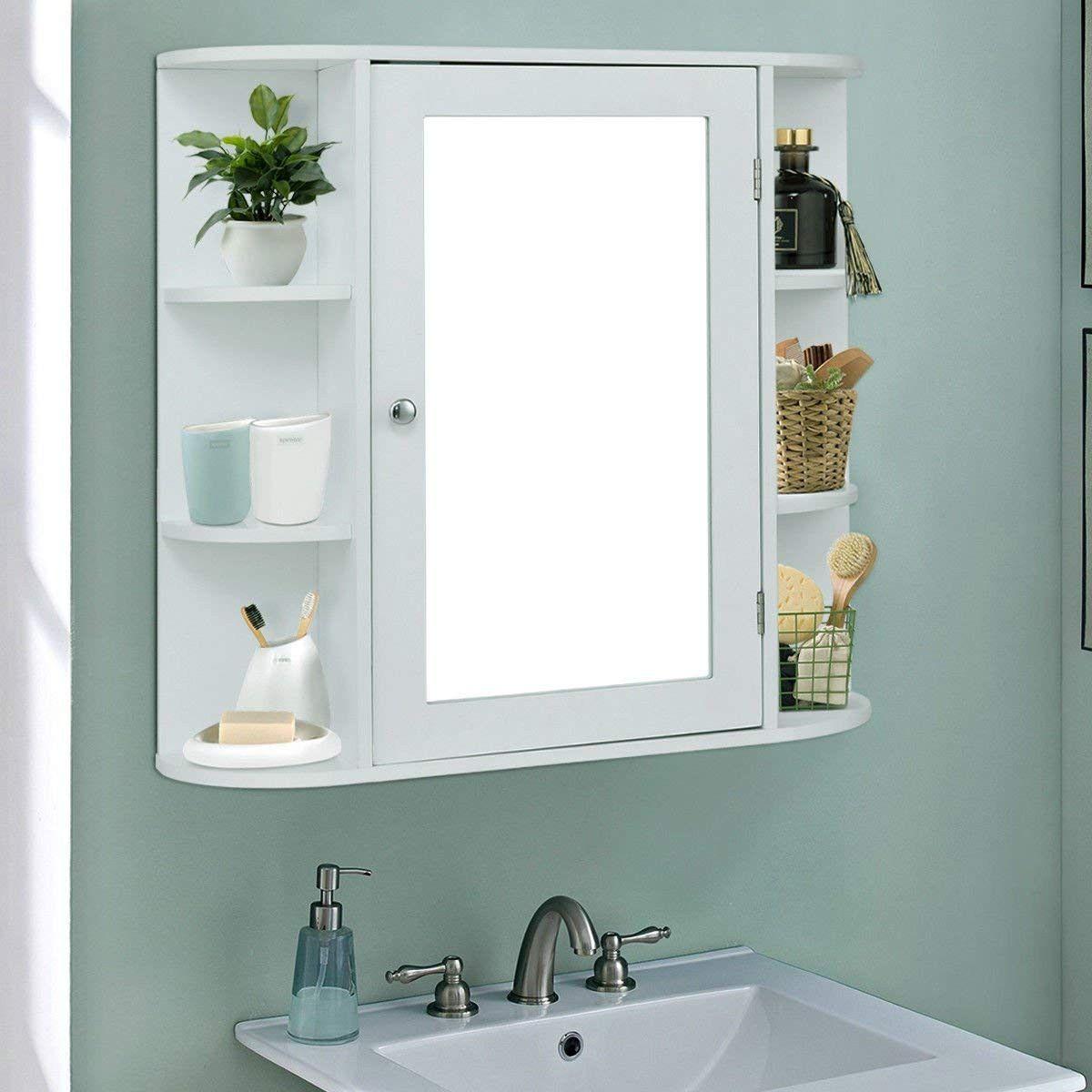 Giantex Wall Mounted Bathroom Storage Cabinet With Mirror Wall Mounted Bathroom Cabinets Bathroom Floor Cabinets Wood Bathroom Cabinets