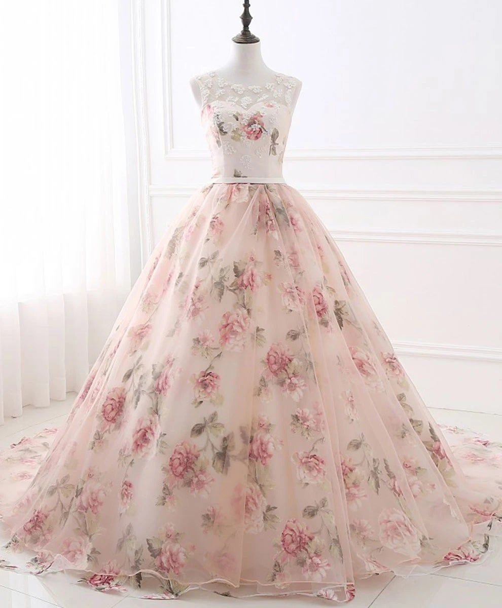 Gorgeous Floral Pink Organza Ball Gown Party Dress Sweet 16 Dresses Flower Prom Dress Bridal Ball Gown Gowns