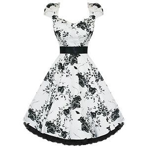 H R London White Floral 40 S 50 S Dress Swing Vintage Bow Pinup Punk 6690 London Dresses Swing Dress 50s Prom Dresses Vintage
