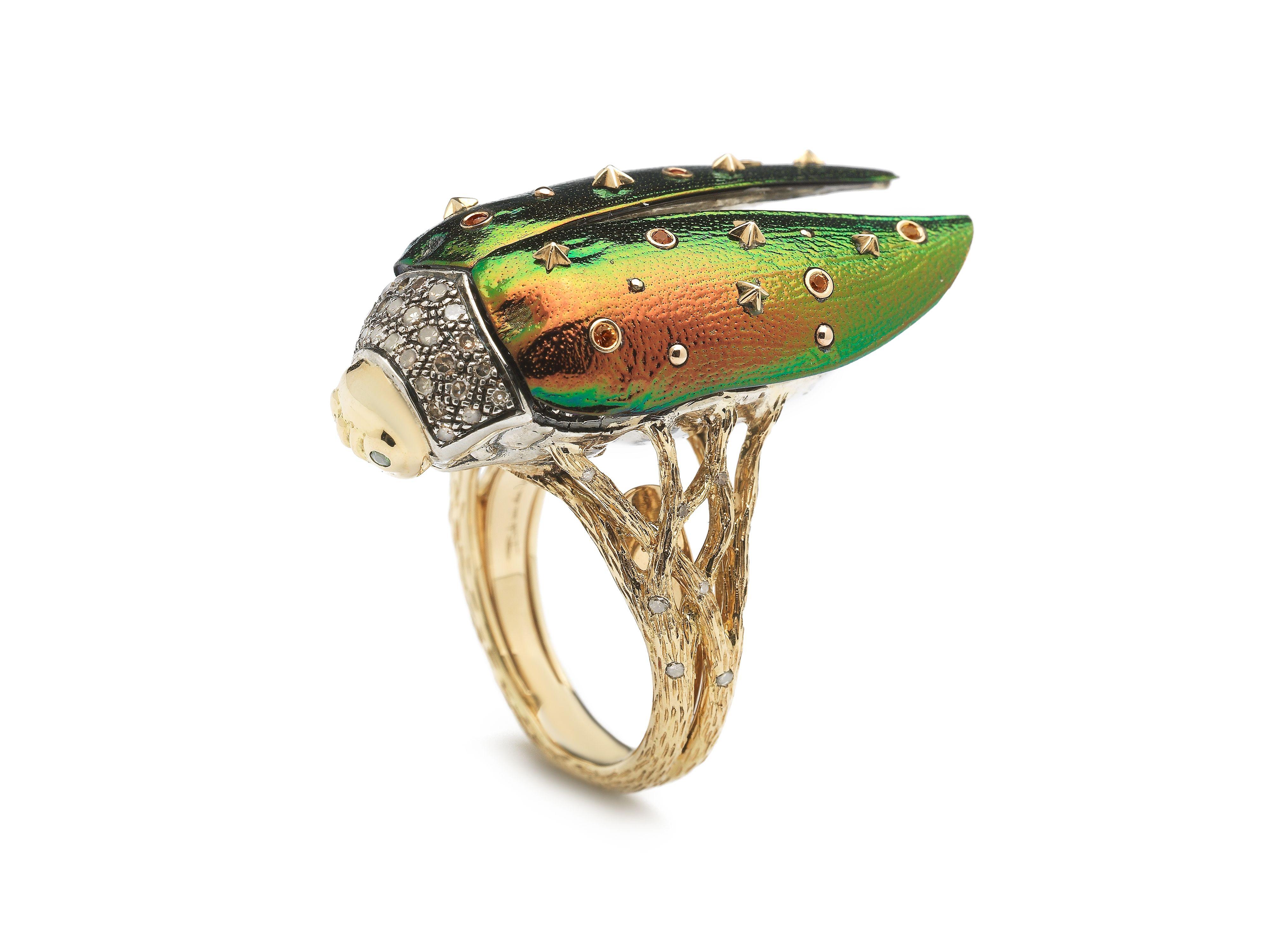 Bibi van der Velden Scarab rose-gold ring HrqBs1g7R