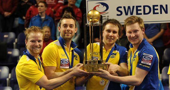 The 27 Year Old Swedish Skip Niklas Edin And His Teammates Third Sebastian Kraupp Second Fredrik Lindberg Lead Viktor Kjall Curling Team Brad Jacobs Sweden