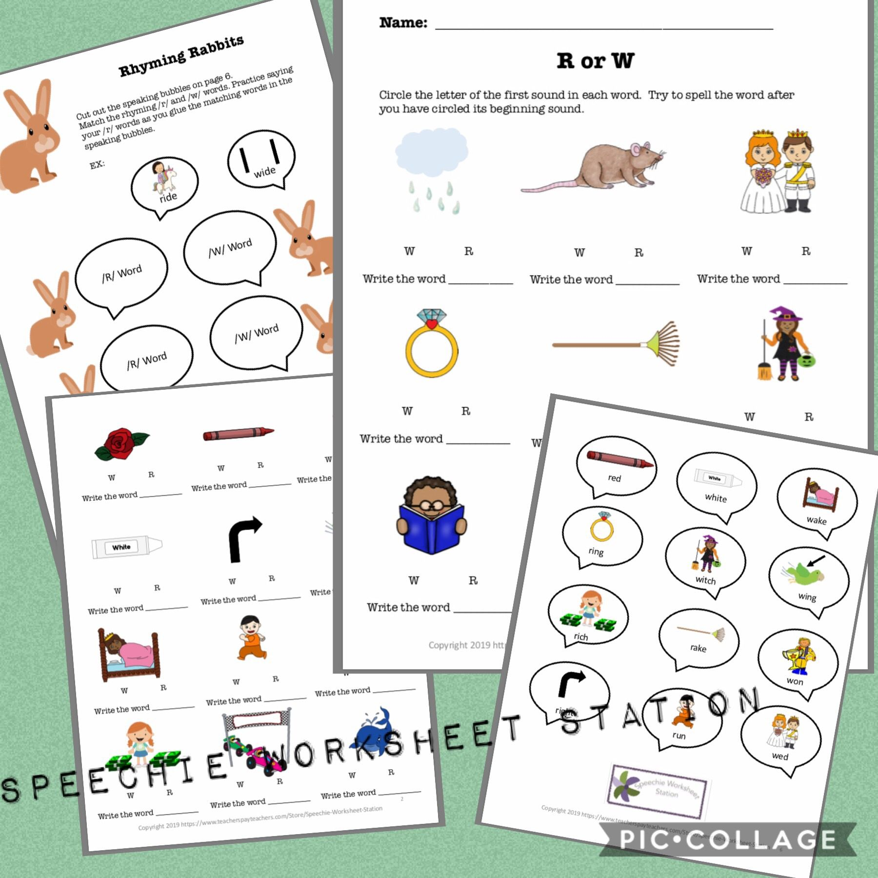 R And W Minimal Pairs Worksheets S