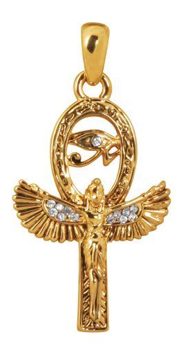 ELEGANT GOLDEN EGYPTIAN ISIS & ANKH PENDANT/NECKLACE PEWTER JEWELRY.ANCIENT EGYPT