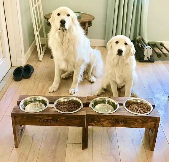 Rustic Dog Food Bowl Stand W Name Plate Dog Bowl Stand Dog