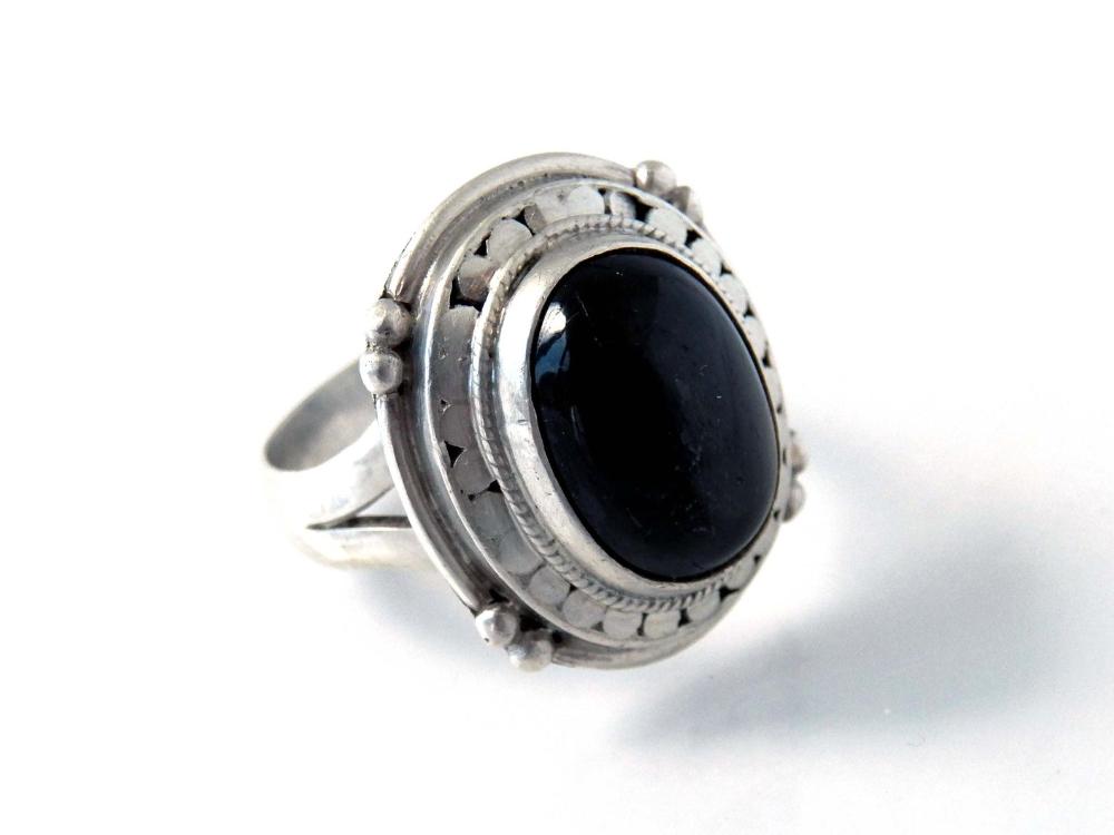 1950s Silver Earrings Blue Tigers Eye Black Oval Large Vintage Retro Screw On