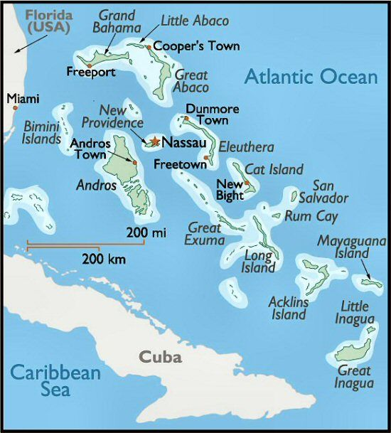 Map Of The Bahamas Maps Of Bimini Amp The South East
