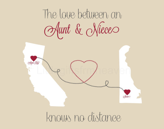 Aunt Niece States Print Long Distance Aunt Gift For Aunt Etsy