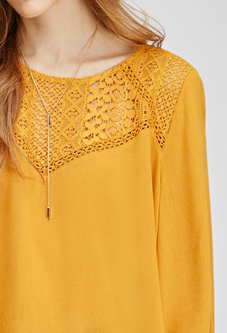Textured Crochet-Paneled Top | FOREVER21 - 2000136372