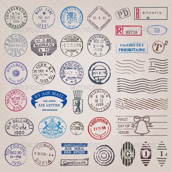 Vector Set Of Vintage Postage Stamps