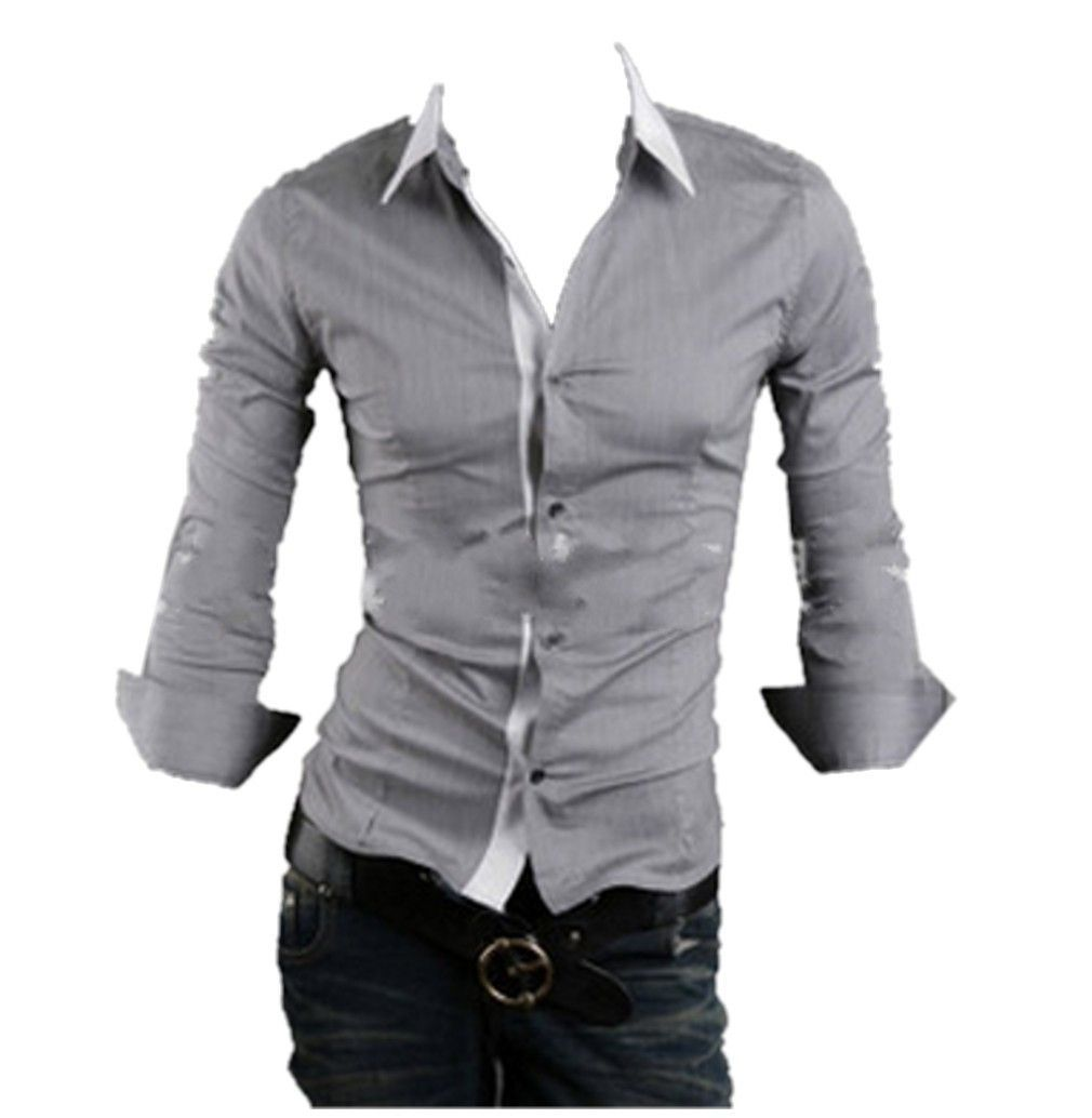 QualityUC Mens American Clothes Fashion No Pattern Shirt