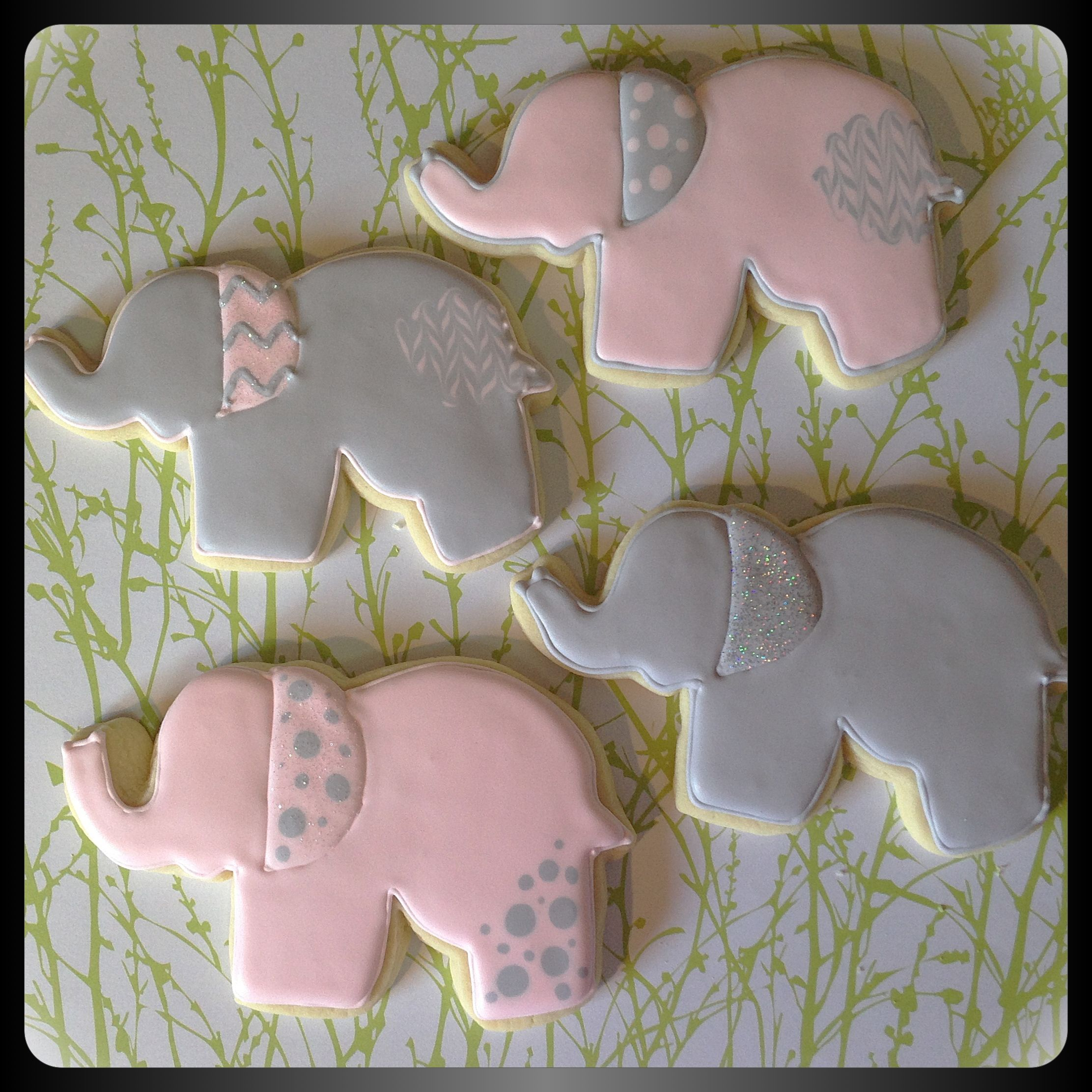 Pink And Gray Elephant Cookies For A Baby Shower My Swanky Sweets