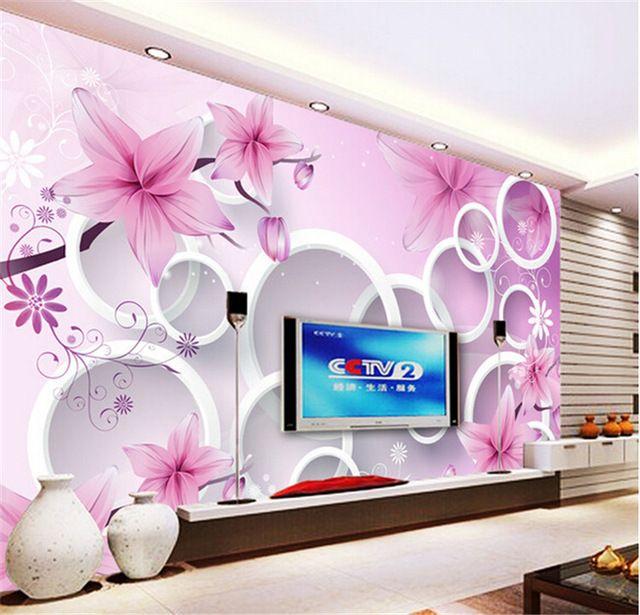 Best 3D Elegant Pink Lily Photo Wallpaper Custom Flower Wall 640 x 480