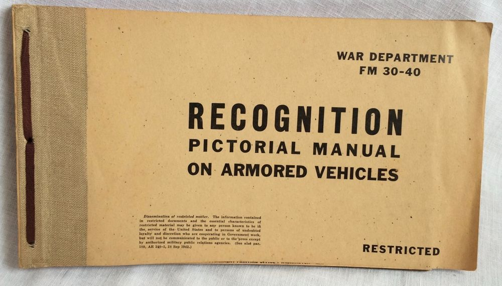 1943 WWII War Department Recognition Pictorial Manual on Armored Vehicles