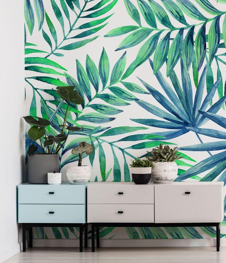 Blue Green Palms Palm wallpaper, Palm leaf wallpaper