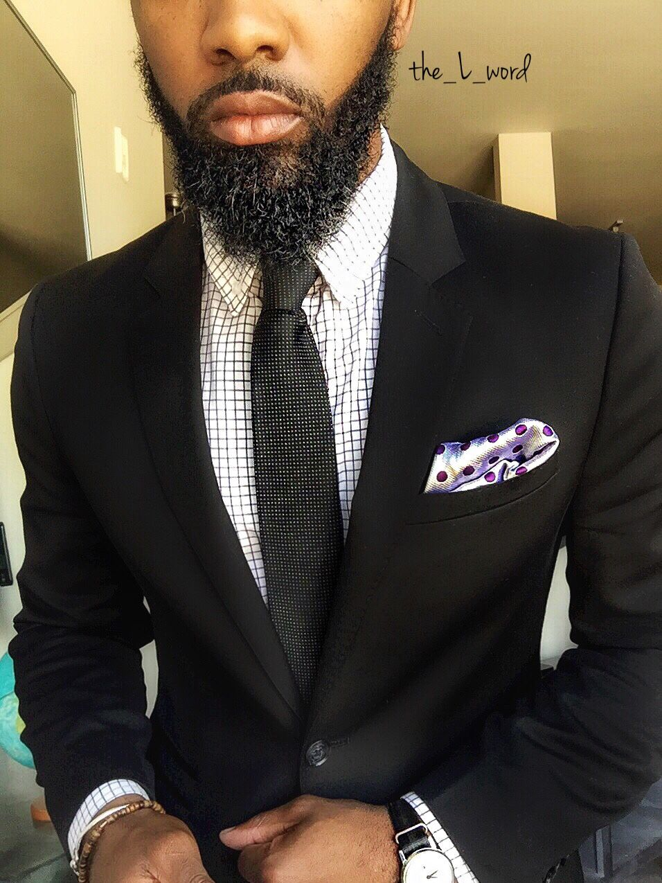 BLACK FASHION- Black Suit, Checkered Shirt, polka dot pocket piece ...