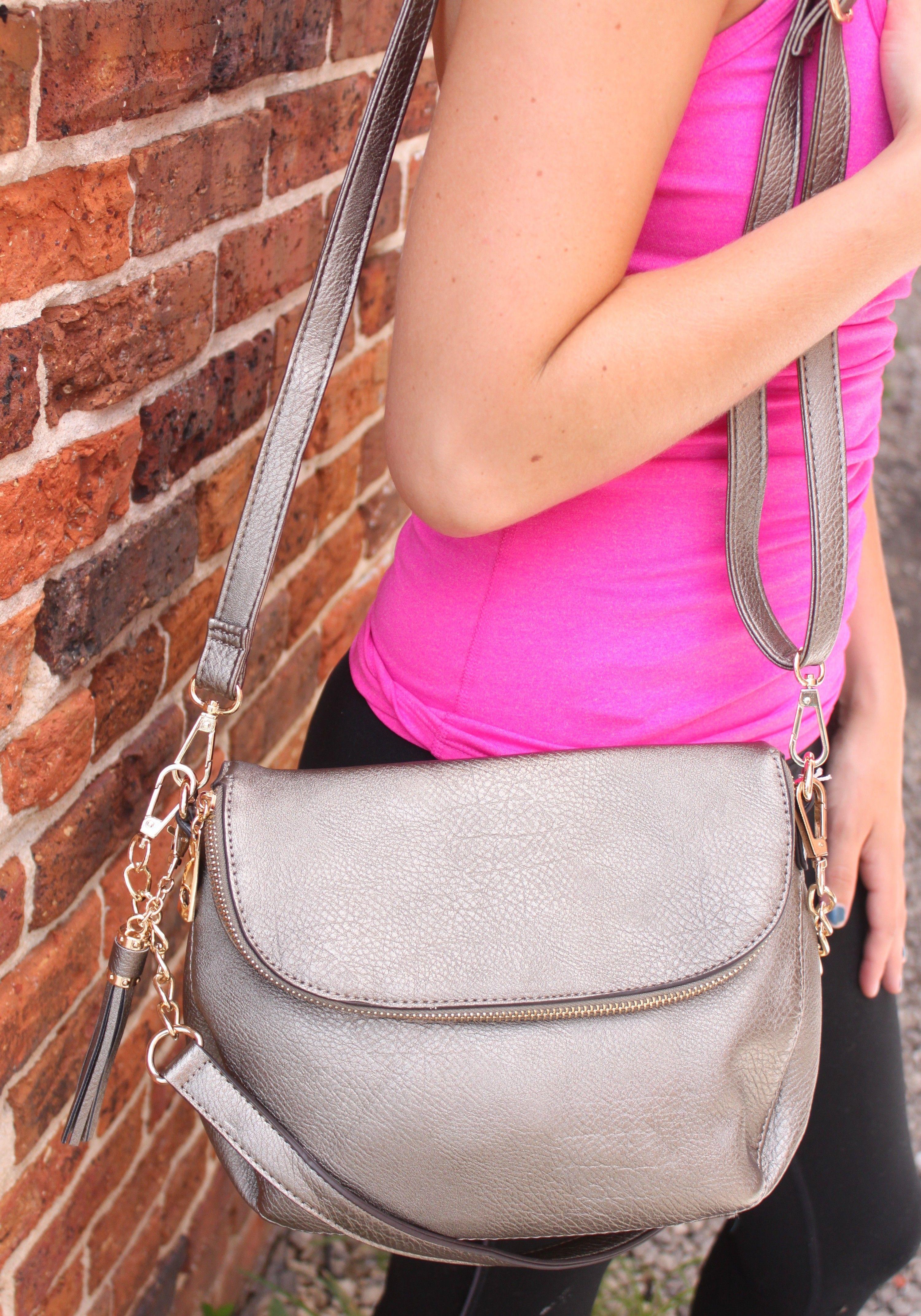 Jolie Fold Over Crossbody Bag (Includes Crossbody & Shoulder Strap) - Bronze