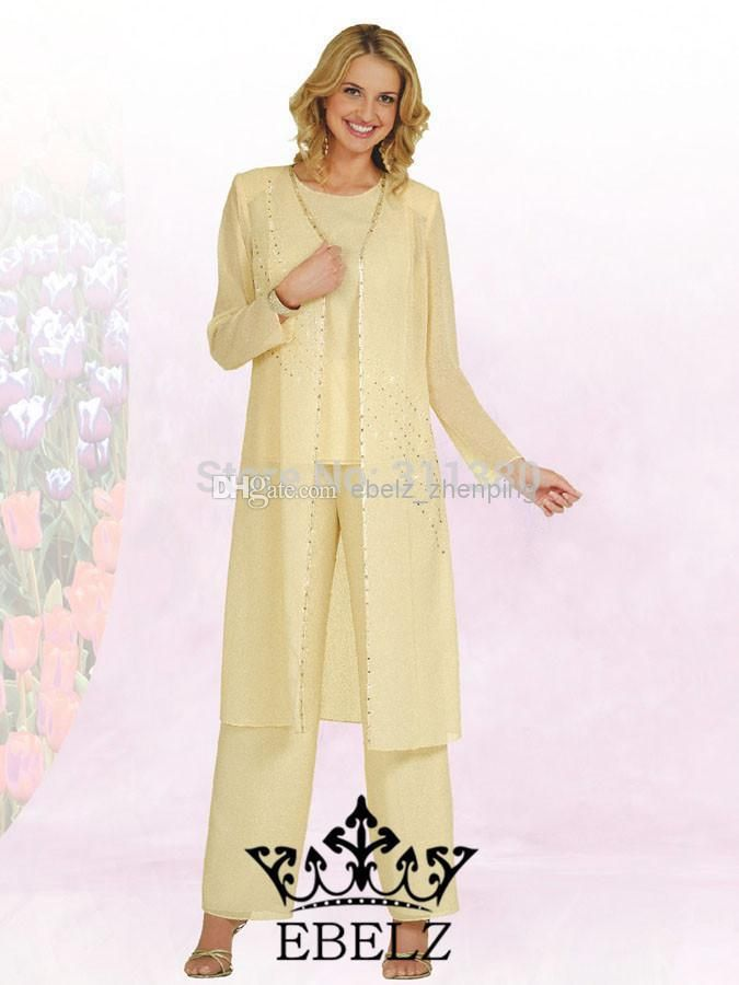 60Custom made Chiffon Crew Long Sleeves Mother of the Bride Pant ...