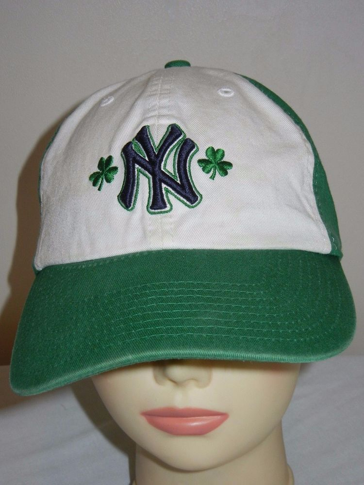 d2eb2cc8691 New York Yankees OSFA baseball hat cap green white St Patricks Day Irish  clover  47Brand  NewYorkYankees