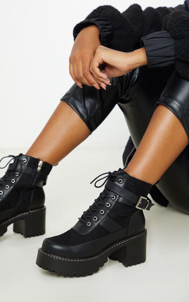 Black Cleated Platform Ankle Buckle