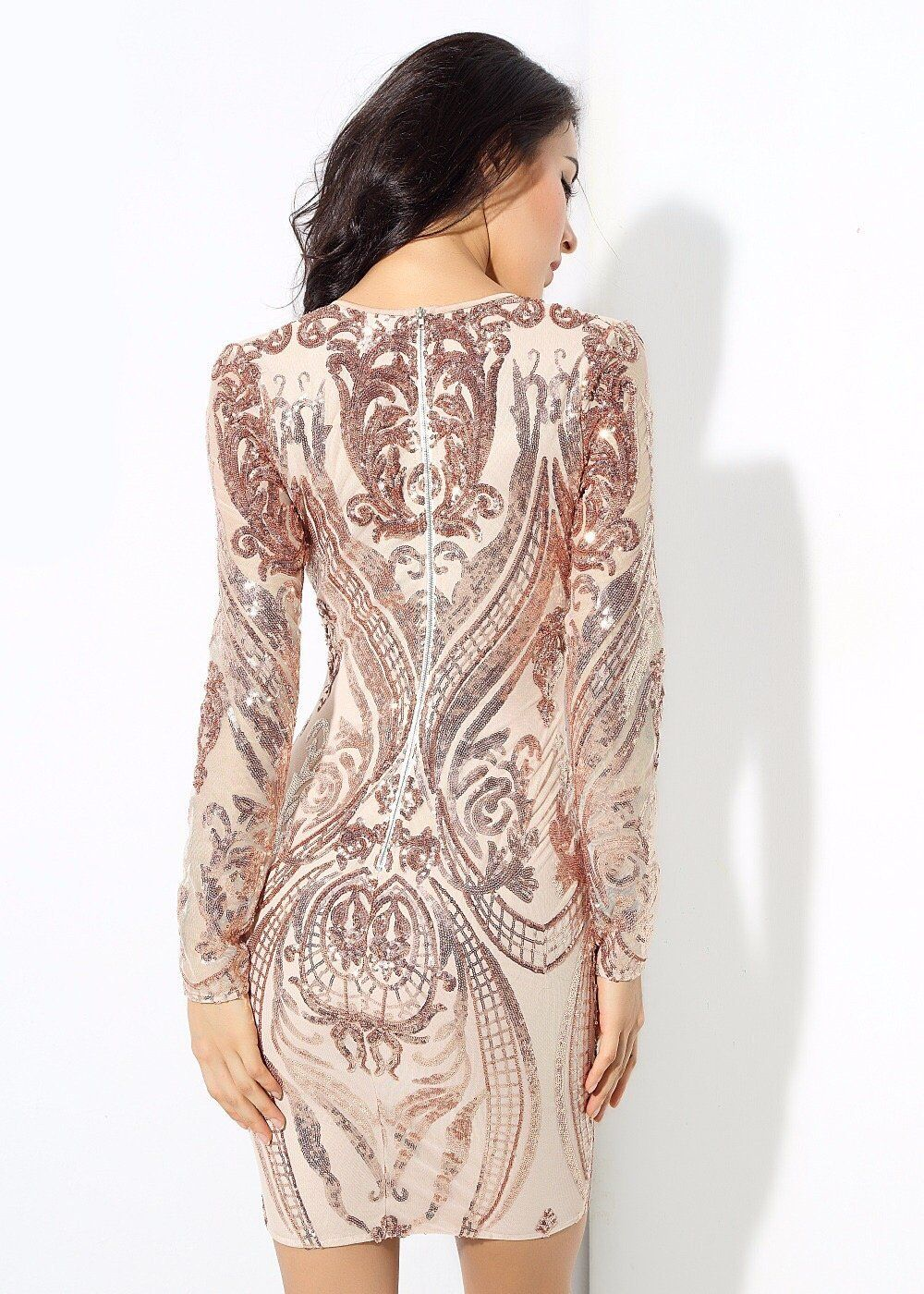 Honey crush rose gold sequin long sleeve mini dress in