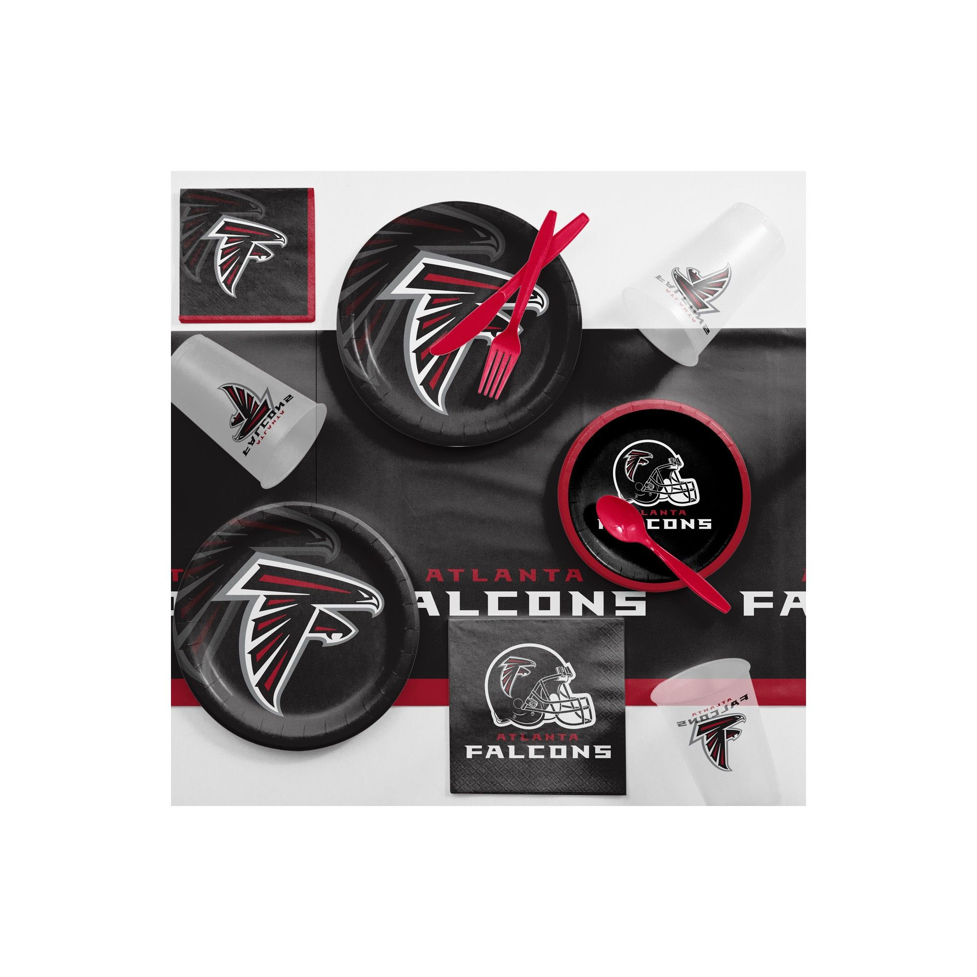 Nfl Black And Red Atlanta Falcons Game Day Party Supplies Kit Party Supply Kits Atlanta Falcons Game Party Supplies