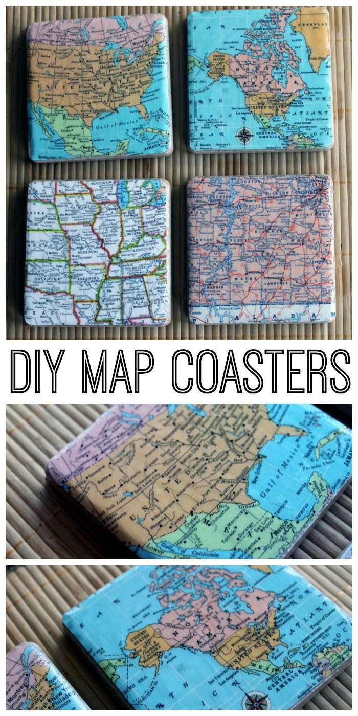 DIY map coasters - make your own coasters for a great gift idea! Choose any
