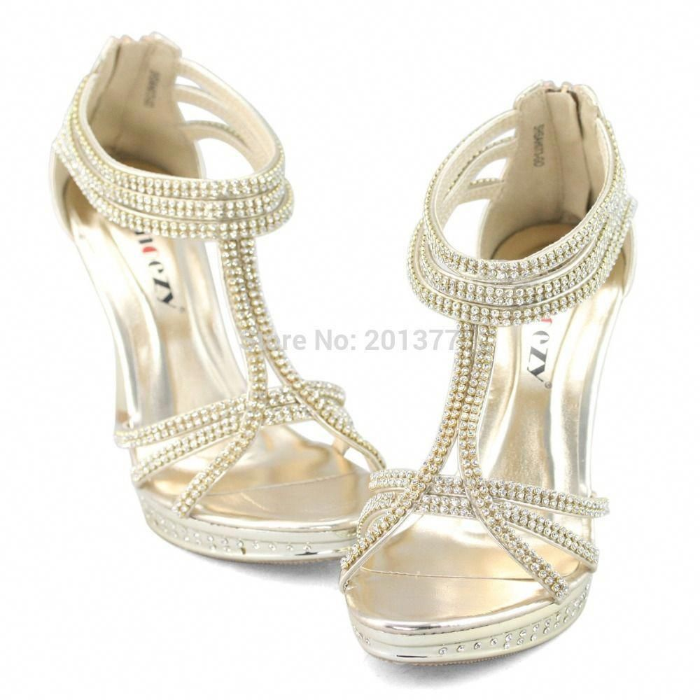 96ae322a860 SHOEZY Brand ankle strap zip sandals gold silver crystal high heels wedding  shoes woman strappy party sparkly ladies zipper prom-in Sandals from Shoes  on ...