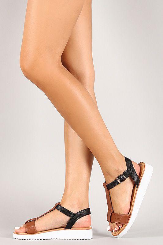 f7b815e017f016 Bamboo Leatherette Two Tone T-Strap Open Toe Flat Sandal