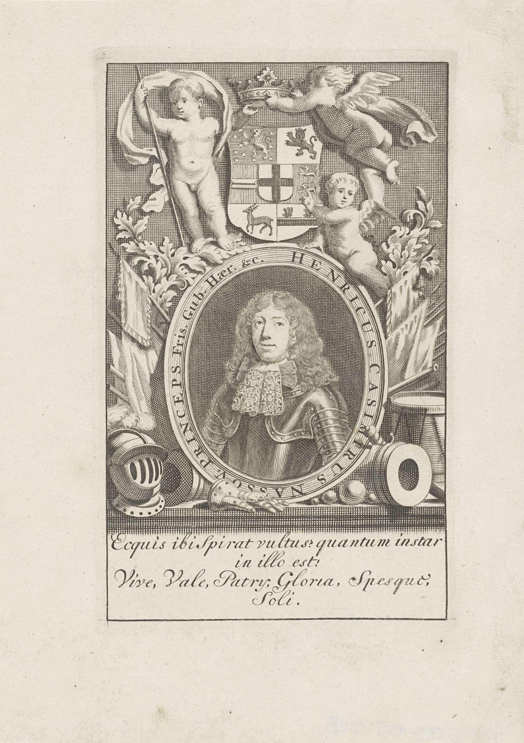 Anonymous | Portret van Hendrik Casimir II, graaf van Nassau-Dietz, Anonymous, 1675 - 1749 | Portret van Hendrik Casimir II in een ovaal met randschrift. Midden boven zijn wapen. Daar omheen een aantal allegorische objecten en figuren. In een kader vier regels Latijnse tekst.