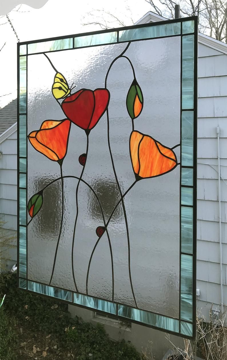 Stained Glass Window Panelcalifornia Poppies With Garden Etsy In 2020 Stained Glass Stained Glass Windows Glass Window