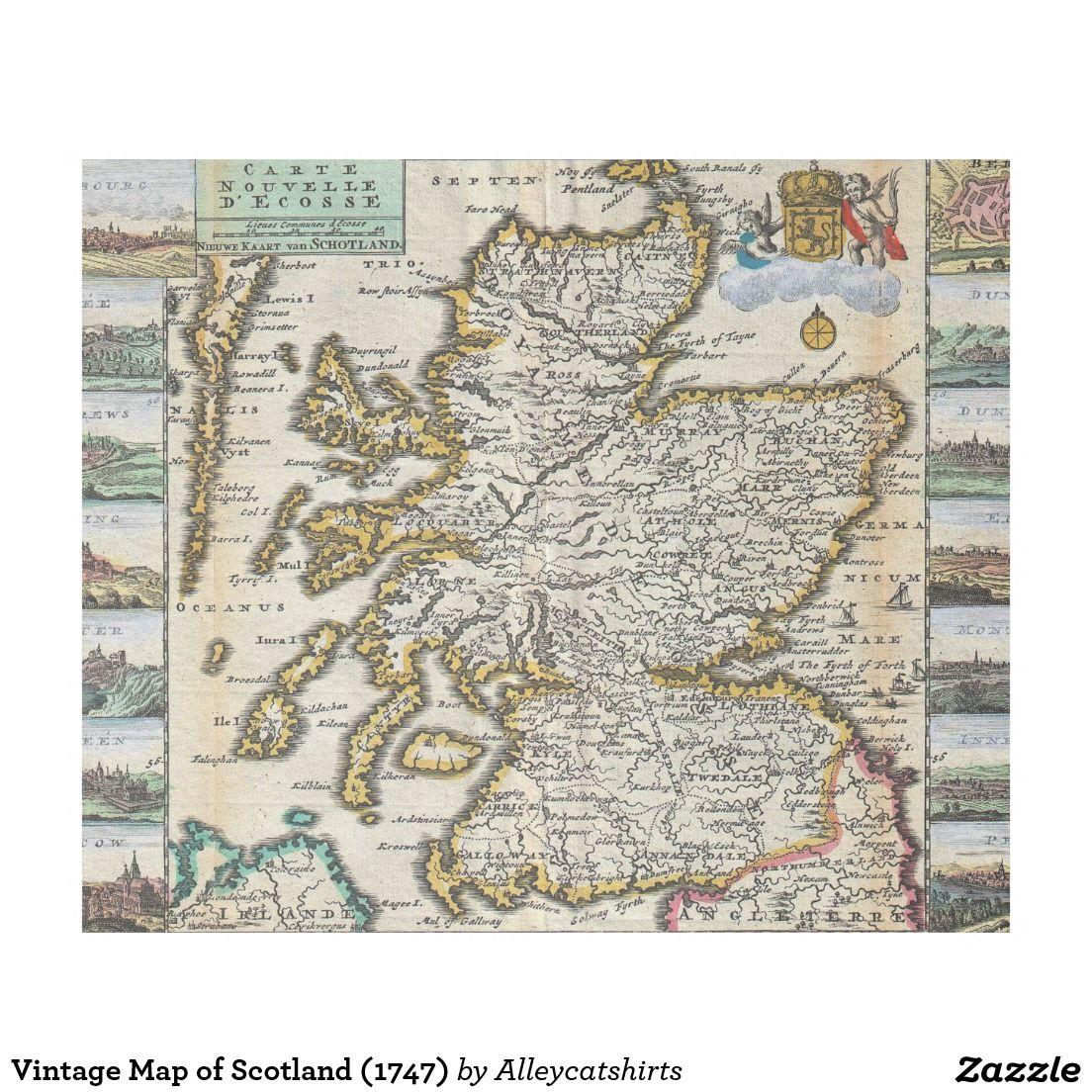 Vintage map of scotland 1747 fleece blanket fleece blankets vintage map of scotland 1747 fleece blanket gumiabroncs Image collections