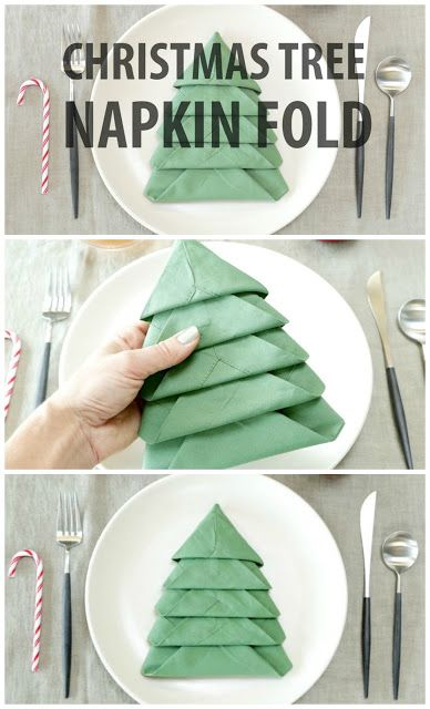 DIY Christmas Tree Napkin Fold More More