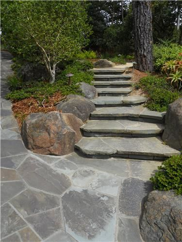tip: cantilever flagstone step treads to make them appear to float ... - Patio Step Ideas