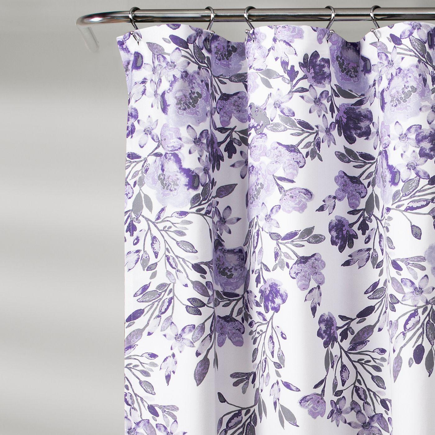 Tanisha Shower Curtain Lush Décor Purple Shower Curtain Floral Shower Curtains Purple Bathroom Decor