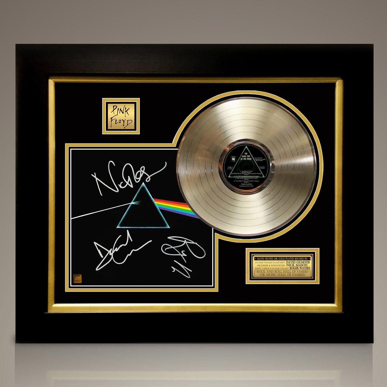 Pink Floyd Dark Side Of The Moon Signed 24k Gold Plated Record Custom Frame Pink Floyd Dark Side Pink Floyd Framed Records