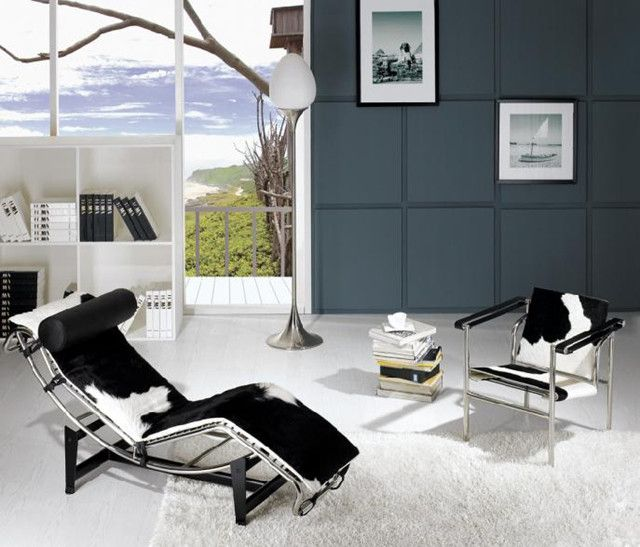 Modern Living Room Setup With Le Corbusier Pony Chaise Lounge Lc4