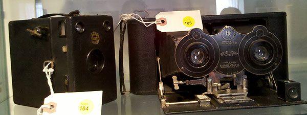Box camera (left) and folding camera  from the Edward K. Kaprelian Collection.