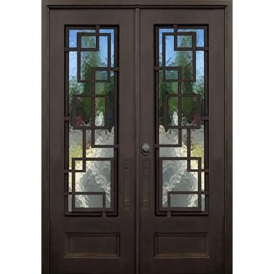 Florida Iron Doors 72 In X 96 In St Andrews Dark Bronze Right Hand Outswing Painted Iron Prehung Front Door W Privacy G Iron Doors Front Door Hardware Doors