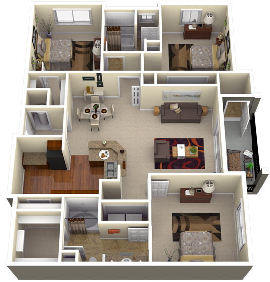 My new home 39 s 3d floor plan - Design of three room apartment ...