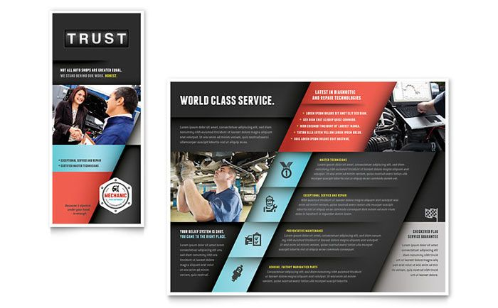 Auto Mechanic Brochure Design Template by StockLayouts Work - pamphlet sample