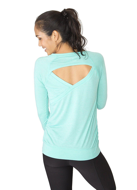 de3db2769106c RBX Active Women's Long Sleeve Open Back Yoga Top Aqua Green M at Amazon  Women's Clothing store: