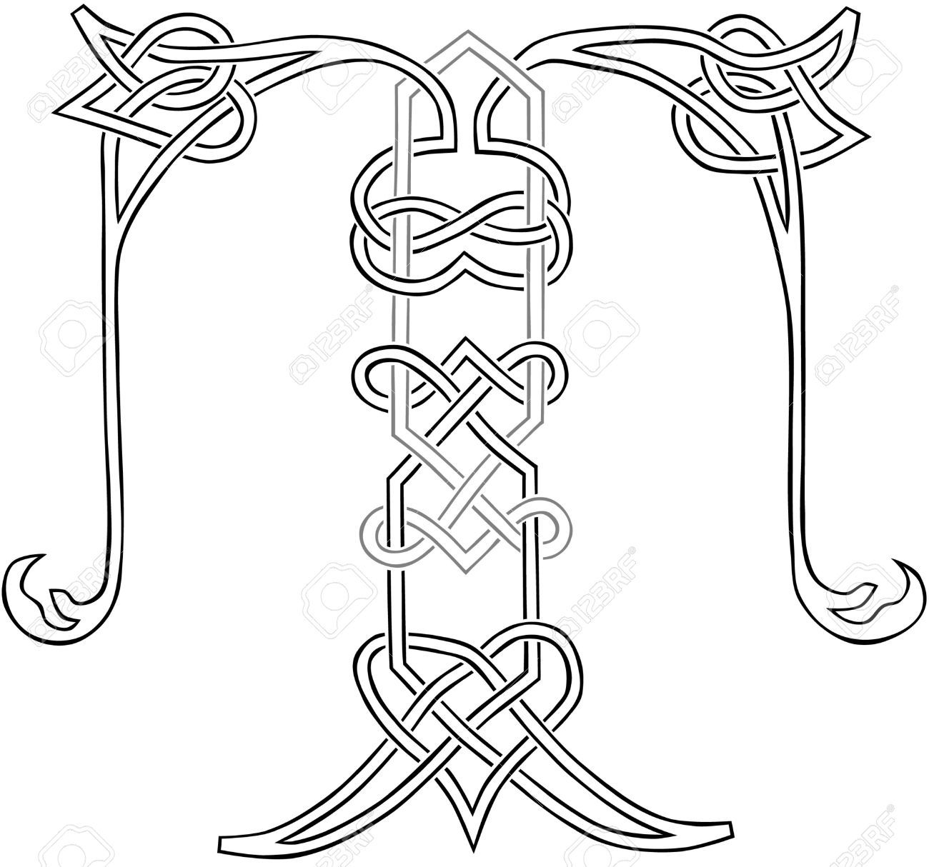 A Celtic Knot Work Capital Letter T Stylized Outline