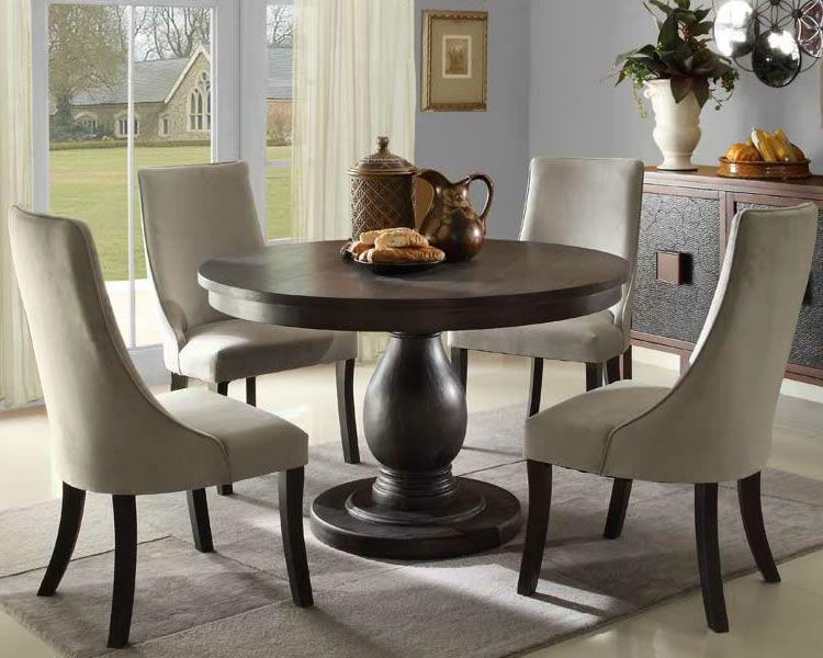 Solid Pedestal Round Table With Upholstered Chairs | Round Pedestal Dining  Set