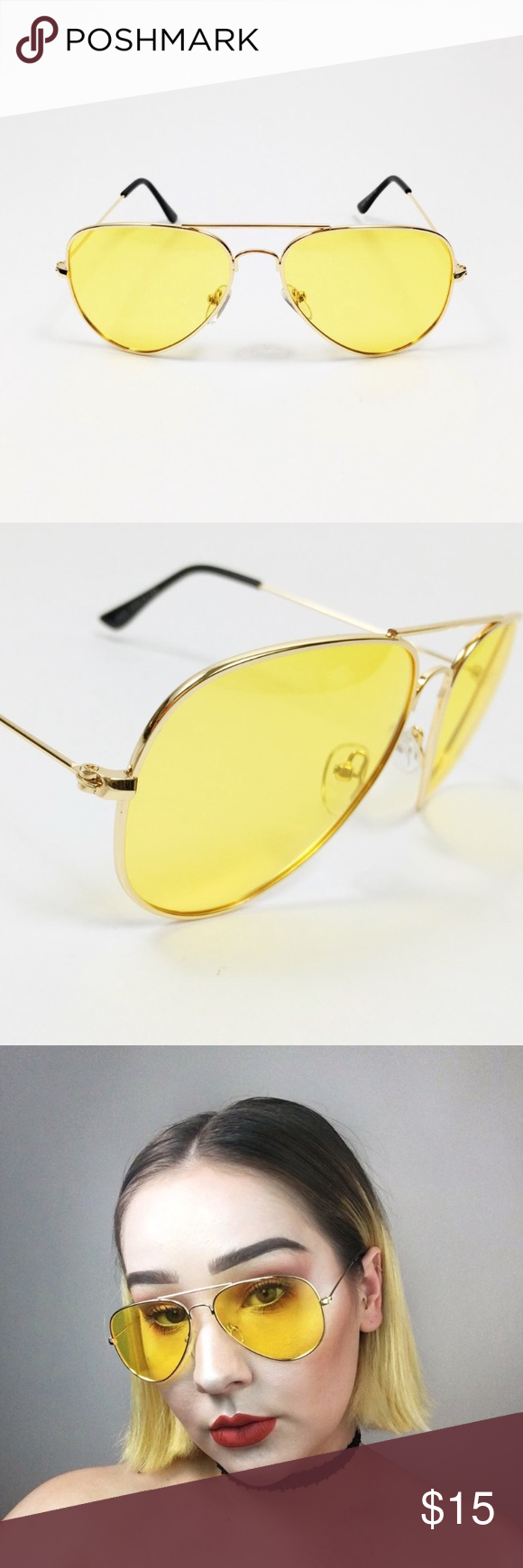 3013b5b7146 70s vintage style yellow gold aviators  TAGGED ACNE STUDIOS FOR ATTENTION   Dupe for Acne Spitfire aviators (as seen on Isabella Peschardt). Only tried  on.